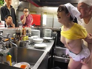 Mimi Asuka porked in a restaurant in..